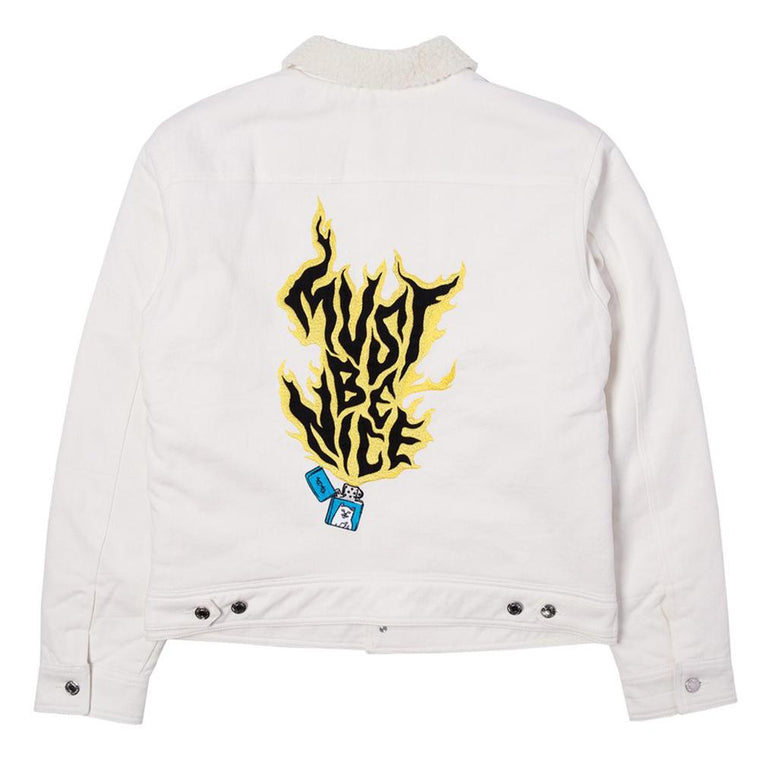 RipNDip LIT AF DENIM JACKET -WHITE