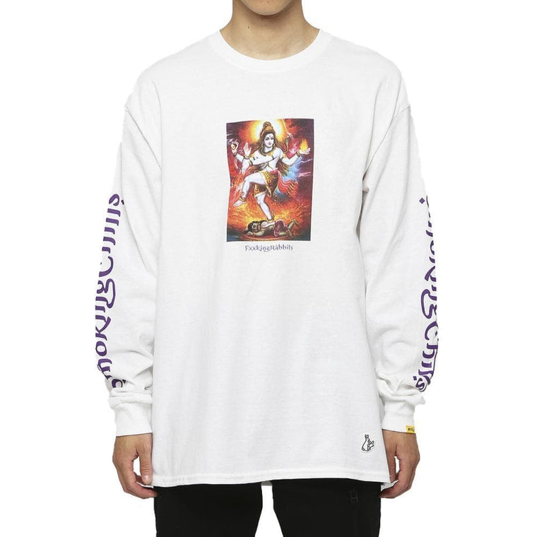 FUCKING RABBIT SMOKING CHILLUM L/S TEE -WHITE