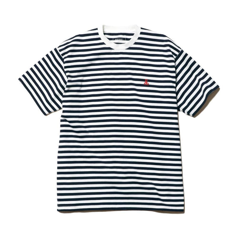 SOPHNET AUTHENTIC SCOR BORDER TEE-NAVY