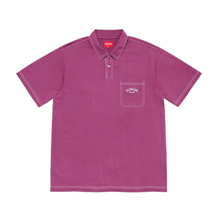 SUPREME CONTRAST STITCH POLO-PURPLE