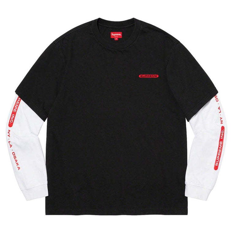 SUPREME SUPREME INC. PANELED L/S TOP-BLACK