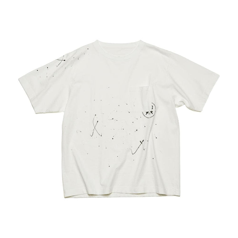 UNIFORM EXPERIMENT DRIPPING WIDE POCKET TEE-WHITE