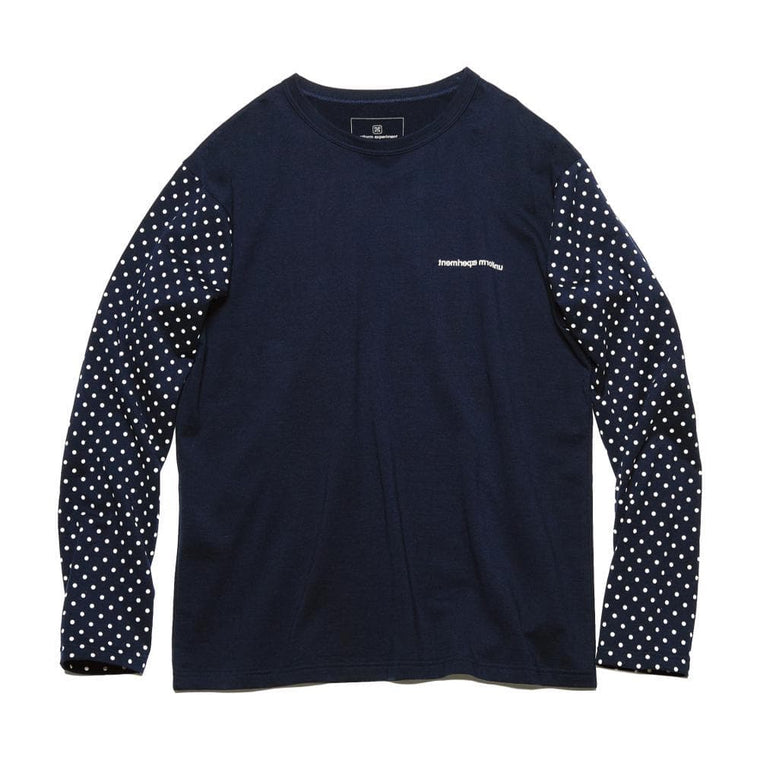 UNIFORM EXPERIMENT L/S DOT SLEEVE TEE-NAVY