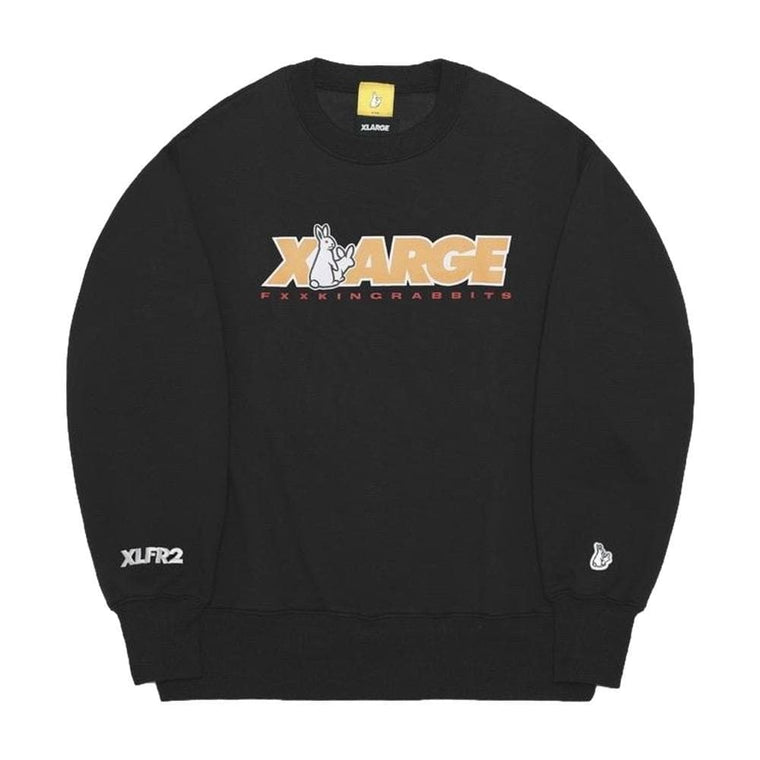 #FR2 XLARGE COLLABORATION WITH #FR2 CREW SWEAT-BLACK