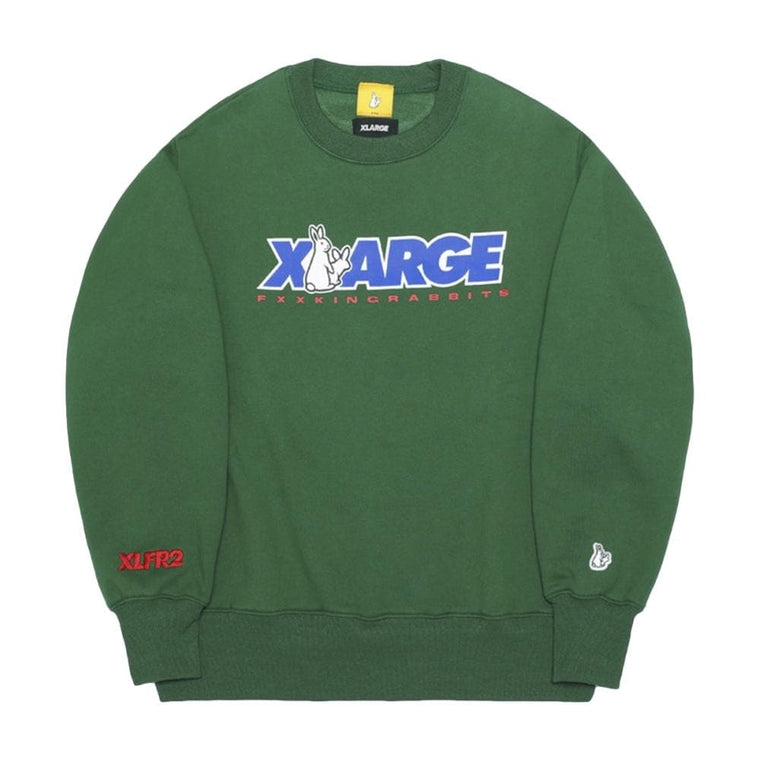 #FR2 XLARGE COLLABORATION WITH #FR2 CREW SWEAT-GREEN