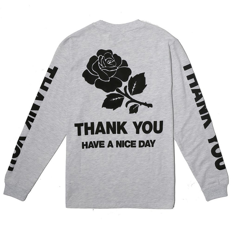 CHINA TOWN MARKET THANK YOU LONG SLEEVE -GREY