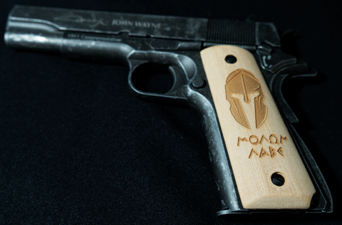 Overlord Tactical M1911 Wood Grips - Molon Labe