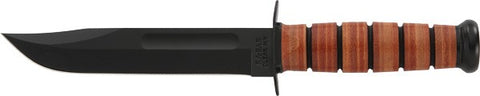 "Ka-bar Fighting Utility Knife 7"" w/Leather Sheath US Army"