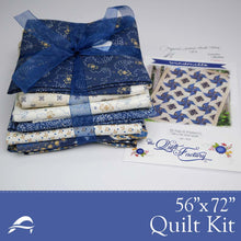 Load image into Gallery viewer, Contrasting Bold Blue Pattern Fabrics Quilting Kit
