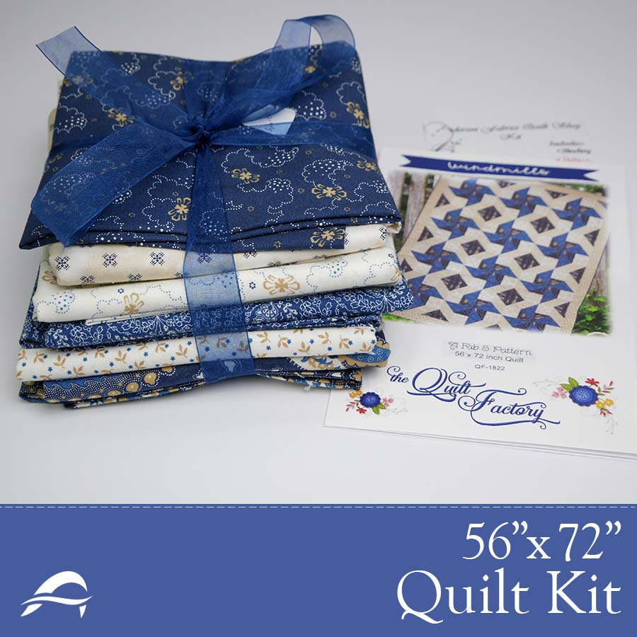 Contrasting Bold Blue Pattern Fabrics Quilting Kit