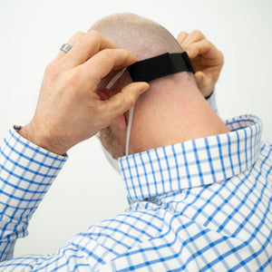 Velcro band for mask to reduce ear relief.