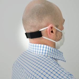 Ear relief band reduces ear pain caused by prolonged use.
