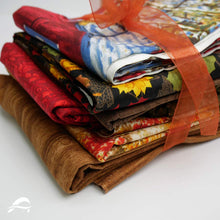 Load image into Gallery viewer, Farm Quilt Kit Closeup Fabrics with Brown Red Orange Yellow