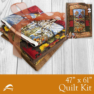 Fall Quilt Kit with Leaves Barn Tractor Pumpkins and Farmhouse Design
