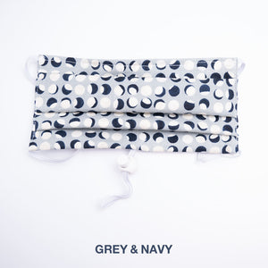 Grey and navy colored mask.
