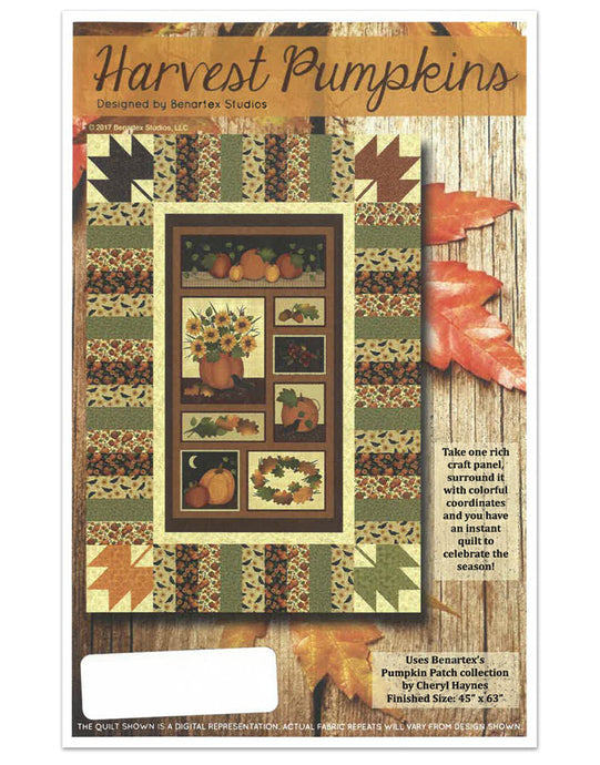 Harvest pumpkins pattern with leaves and seasonal Fall colors at Anderson Fabrics