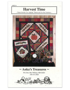 Harvest timequilt pattern with acorns pumpkin and cabin design at Anderson Fabrics