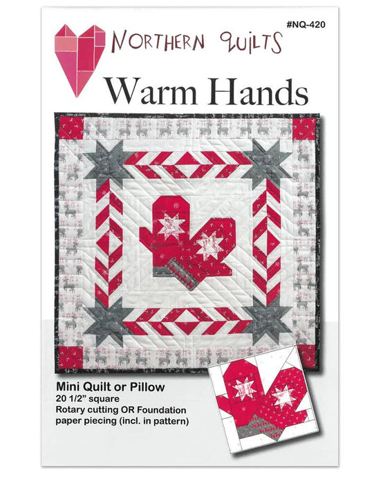 Cozy Warm Mittens Pattern with Red and White Design and Stars