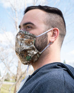 Camo face mask that is washable and reusable for the active outdoors person.
