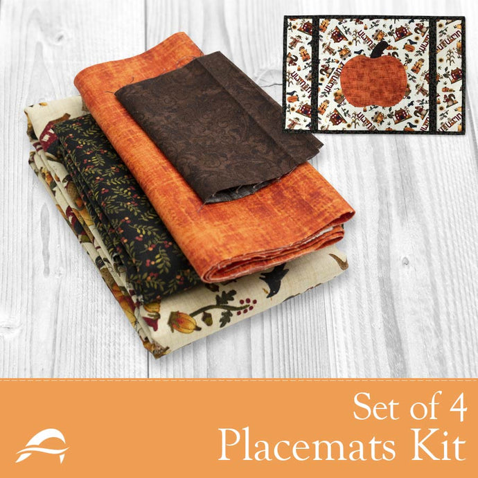 Set of 4 Pumpkin Placemats with Autumn leaves and scarecrow design fabrics
