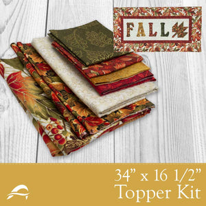Fall Table Topper Kit with Autumn leaves falling and Fall Lettering