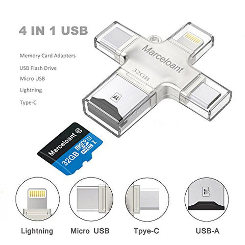 USB Flash Drives, Memory Card Reader, Micro SD/TF Card Reader for iPhone iPad iOS Android 32GB Memory Stick, Marceloant OTG External Storage Flash Memory Pen Drive (Silver Included 32GB TF Card)