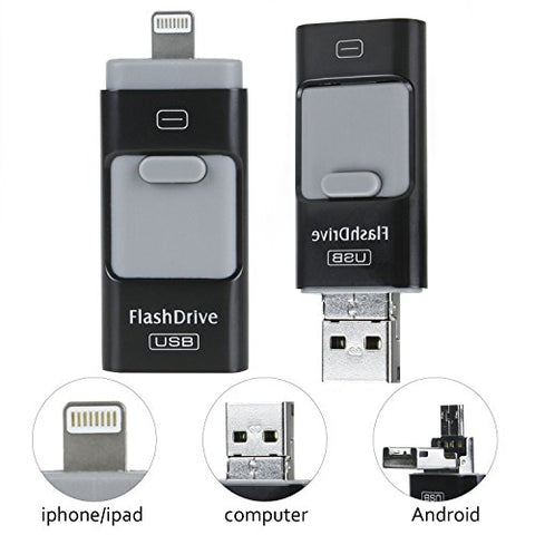 OTG USB Flash Drive 128GB (Black) Pen-Drive Memory Storage, For iPhone/iPad/IOS/Android/PC