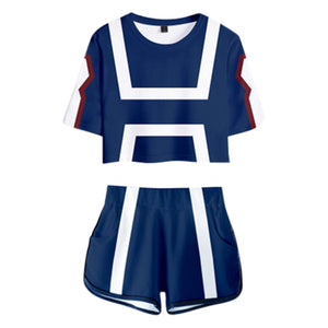 Women My Hero Academia Crop Top Sets UA Training Suit Cosplay Short Sleeve T-shirt Shorts 2 Pieces Sets Casual Clothes