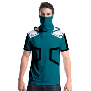 Unisex My Hero Academia T-Shirt Midoriya Izuku Cosplay Fashion Hooded Short Sleeve Pullover Tee Tops with Face Cover