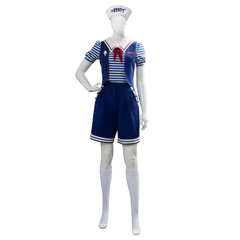 Stranger Things 3 Scoops Ahoy Robin Cosplay Costume Halloween Sailor Uniform Shirts Outfits