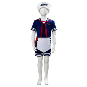 Kids Stranger Things 3 Scoops Ahoy Steve Harrington Cosplay Costume Halloween Sailor Uniform Shirts Outfits