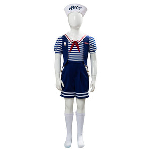 Kids Stranger Things 3 Scoops Ahoy Robin Cosplay Costume Halloween Sailor Uniform Shirts Outfits