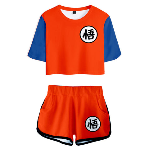 Anime Dragon Ball T Shirt Sets Son Goku Cosplay Summer T-shirt Pants 2 Pieces Sets