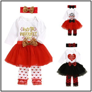 Valentine's Day Children's Clothing Set Girl's Mesh Skirt Suit