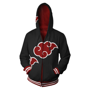 Unisex Akatsuki Organization Hoodies Naruto Zip Up 3D Print Jacket Sweatshirt