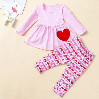 Girl's Valentine Love Long Sleeve Trousers Two-piece Suit