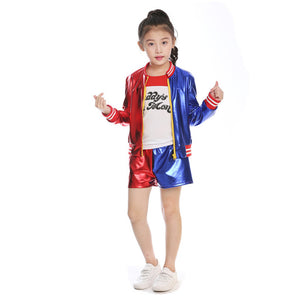 Suicide Squad Harley Quinn Outfit Halloween Cosplay Costume for Kids