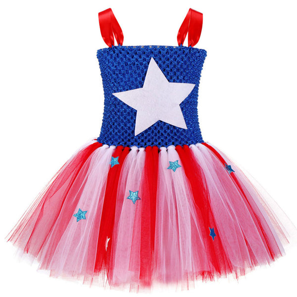 Girls Super Hero Dress Costume Party Supergirl Captain America Tutu Dress Up