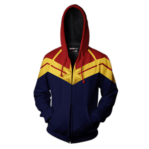 2019 Teen Hoodie Captain Marvel Carol Danvers MS MISS Marvel Zip Up Sweatshirt Unisex