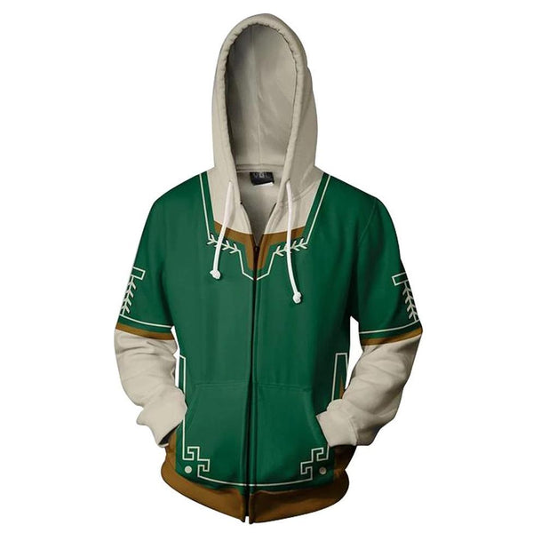 Unisex Link Hoodies The Legend of Zelda Zip Up 3D Print Jacket Sweatshirt Green