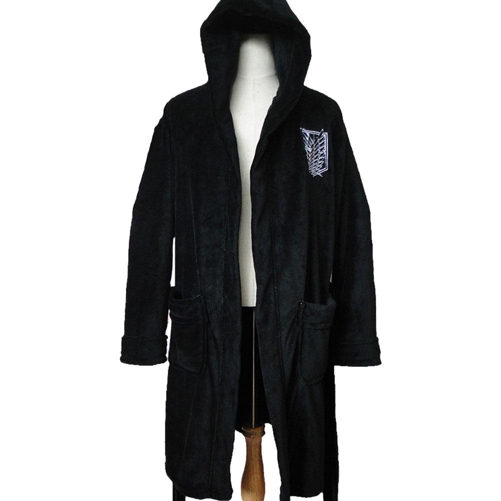 Men's Black Bathrobe Attack on Titan Survey Corps Bathrobe Adult