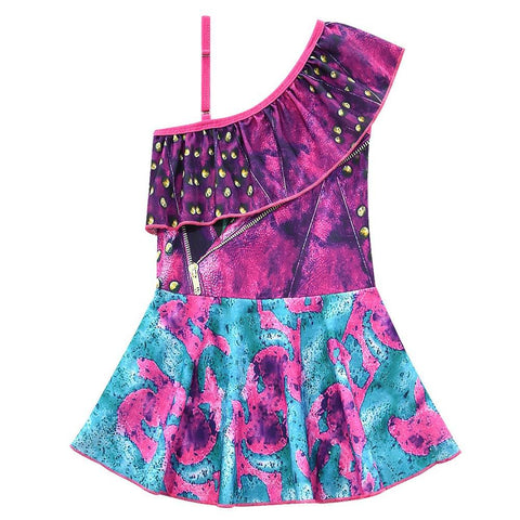 Kids Girls Swimsuit Descendants 3 Evie Cosplay Costume Fancy Dress One-shoulder Tops Skirt Swimwear