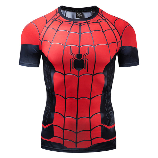 Spider-man: Far From Home Peter Parker Compression T Shirts Short Sleeve Tops Tee for Men