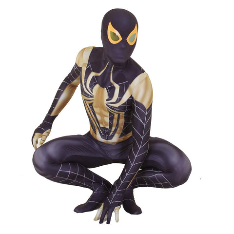 Unisex Lycra Spandex Zentai Halloween Black Gold Iron Spiderman Cosplay Costumes Jumpsuit
