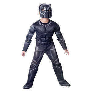 Kids Halloween Superhero Cosplay Boys Black Panther Muscle Costume Jumpsuit Bodysuit Cosplay Costume