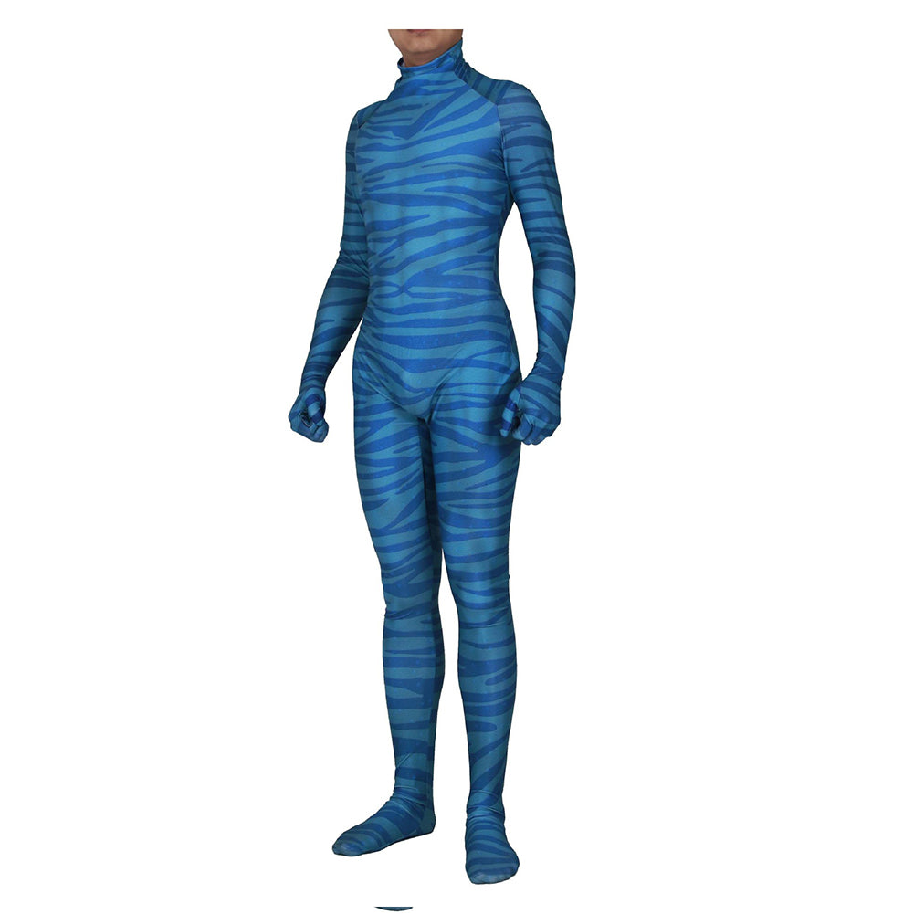 Adult Halloween Avatar Pandora Na'Vi Blue Jumpsuit With Na'Vi Stripe Detailing