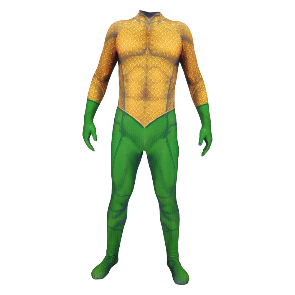 Adult Halloween Cosplay Costume Aquaman 3D Muscle Printed Bodysuit Suit Dress Up Yellow