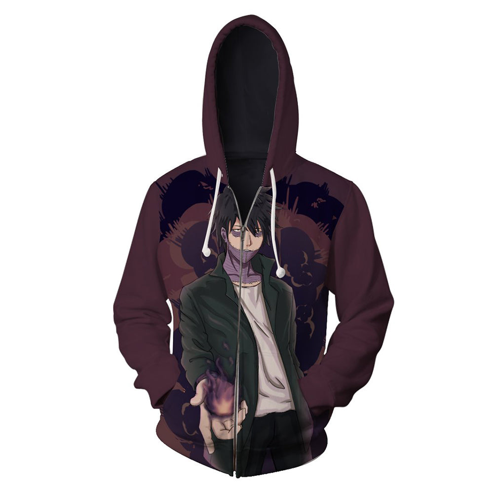 Unisex My Hero Academia Hoodies Dabi Printed Zip Up 3D Print Jacket Sweatshirt