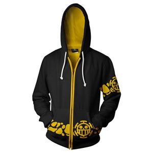Unisex One Piece Trafalgar Law Cosplay Hoodie 3D Printed Sweatshirt Men Women Casual Zip Up Streetwear