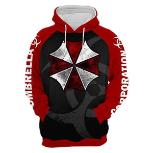 Unisex Resident Evil Hooded Coat Umbrella Corporation Pullover Long Sleeve Hoodies Sweatshirt